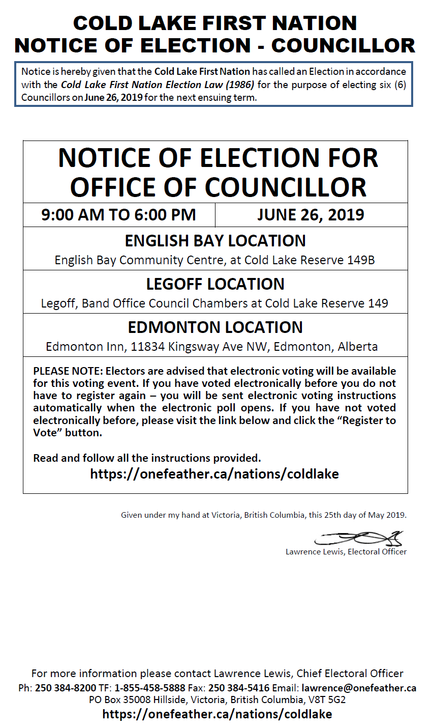 Cold Lake First Nations - Notice of Nomination and Election